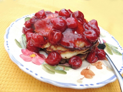 Oryana Natural Foods Market : Almond Pancakes with Cherry Sauce